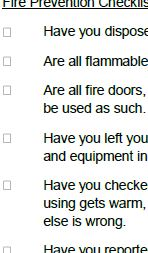 Custom and standard safety checklists.