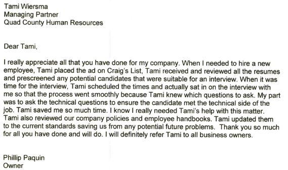 Testimonial 1-800-Coolness typed letter Tami saved us so much time in the hiring process