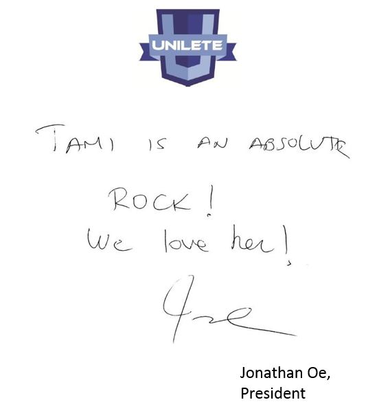 handwritten Testimonial from Unilete, Tami is an absolute rock! We love her! Jonathon