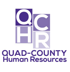 QCHR logo in boxes, shades of purple